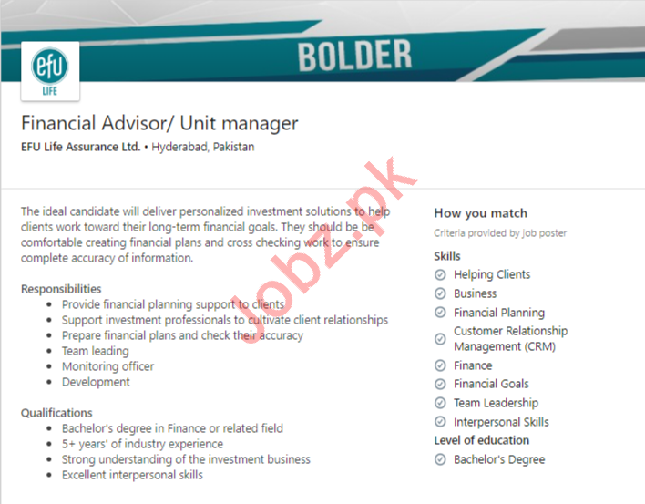 Financial Advisor & Unit Manager Jobs 2020 in Hyderabad