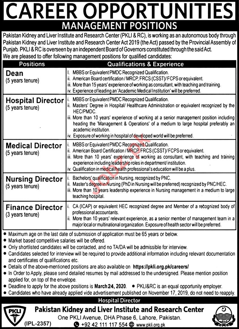 Pakistan Kidney & Liver Institute & Researc Center Jobs 2020