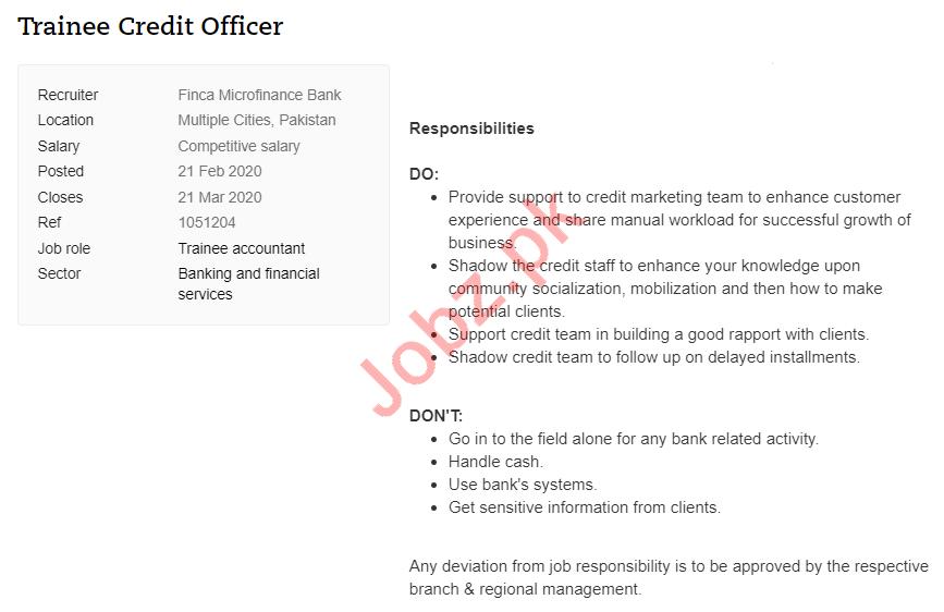 Trainee Credit Officer Jobs in Finca Microfinance Bank