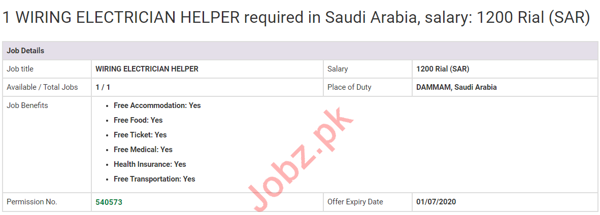 Wiring Electrician Helper Jobs 2020 in Saudi Arabia