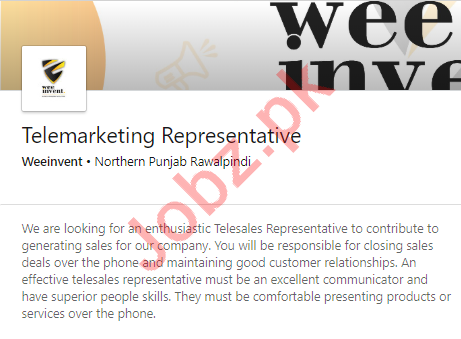 Weeinvent Rawalpindi Jobs 2020 Telemarketing Representative