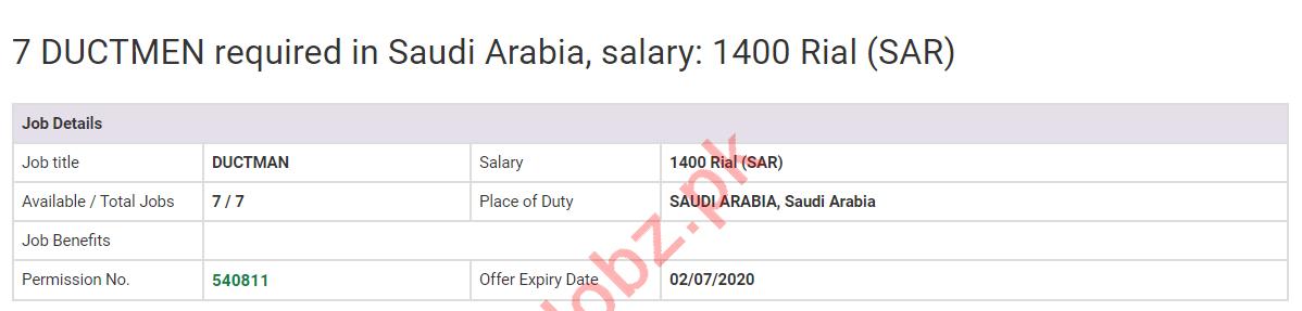 Duct Man Jobs 2020 in Saudi Arabia