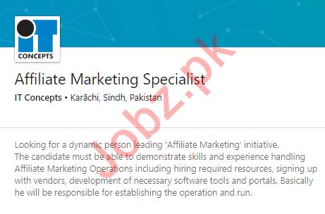 Affiliate Marketing Specialist Job 2020 in Karachi