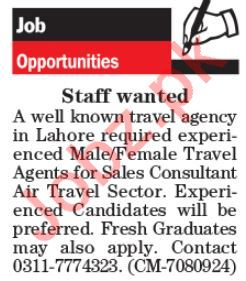 Travel Agents & Sales Consultant Jobs 2020 in Lahore