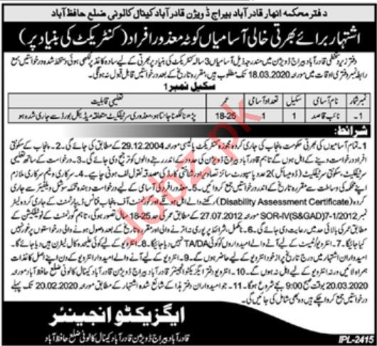 Irrigation Department Job 2020 For Disabled Persons