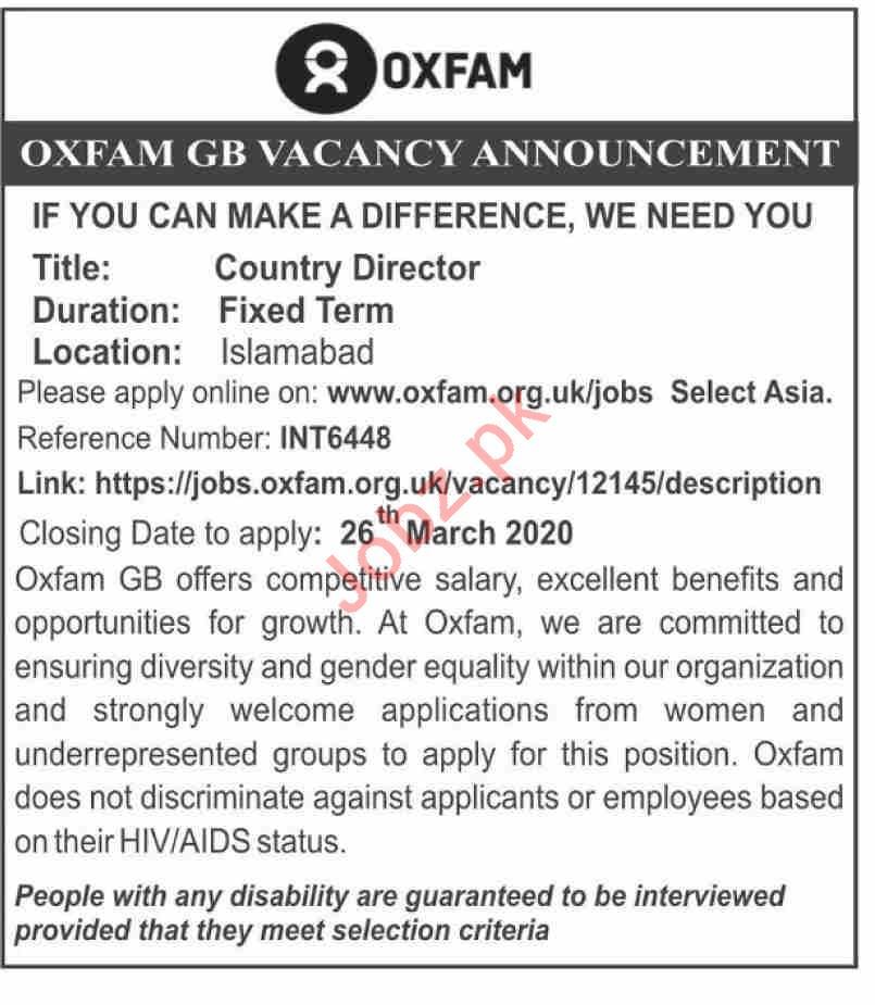 OXFAM GB Islamabad Jobs 2020