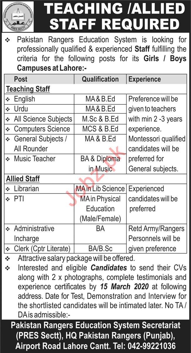 Pakistan Rangers Education System Jobs 2020 in Lahore