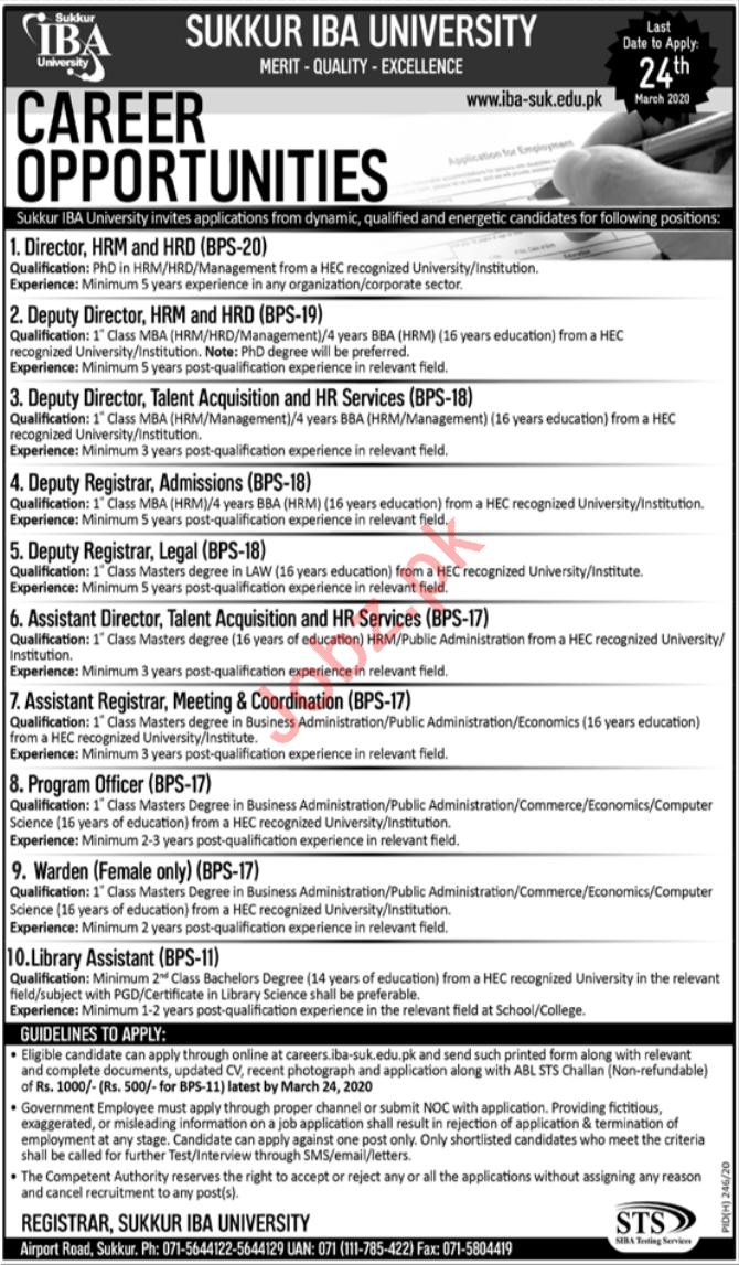 Sukkur IBA University Jobs 2020 via STS