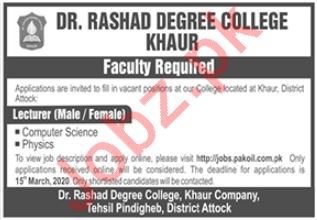 Dr Rashad Degree College Faculty Jobs 2020 in Attock