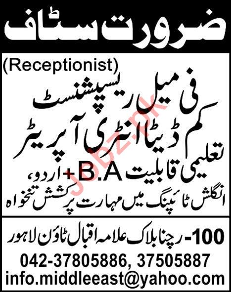 Private Company Jobs 2020 in Lahore