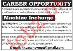 Machine In Charge Job 2020 in Hattar KPK