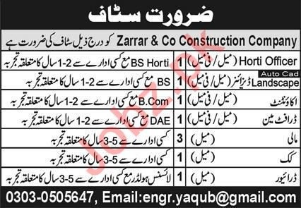 Zarrar & Co Construction Company Jobs 2020