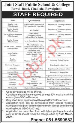 Joint Staff Public School & College Rawalpindi Jobs 2020