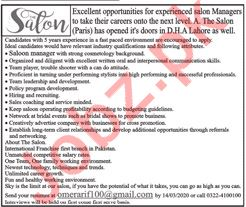Beauty Salon Experts Jobs 2020 For Lahore