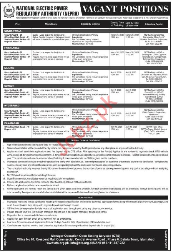 National Electronic Power Regulatory Authority NEPRA Jobs