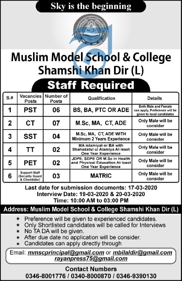 Muslim Model School & College Jobs 2020