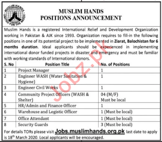 Muslim Hands NGO Jobs 2020 in Ziarat Balochistan