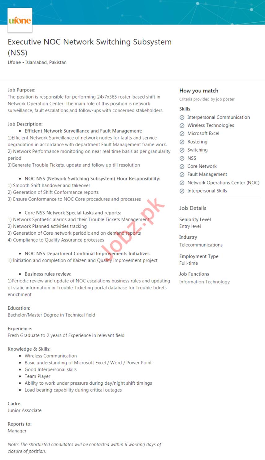 Executive NOC Network Switching Subsystem Job 2020