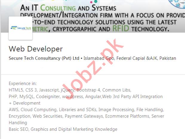 Web Developer Job 2020 in Islamabad
