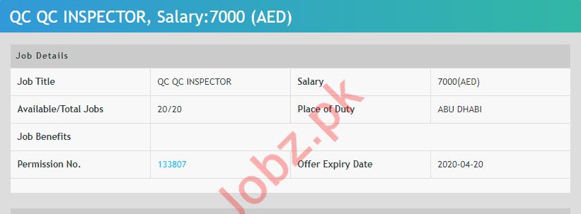 Quality Control QC Inspectors Jobs 2020 in Abu Dhabi UAE
