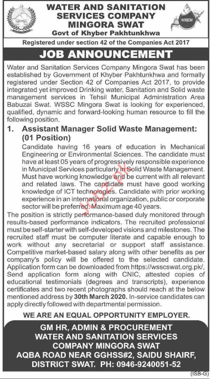 Water & Sanitation Services Company WSSC Mingora Swat Jobs