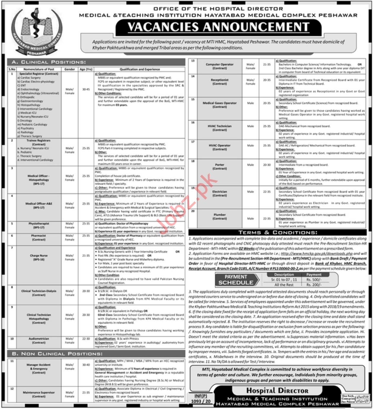 MTI Hayatabad Medical Complex Jobs 2020