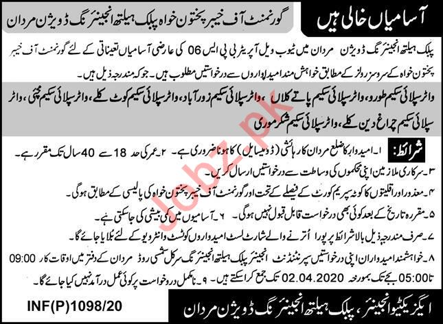 Public Health Engineering Division Tube Well Operator Jobs