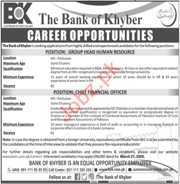 Management Jobs in The Bank of Khyber