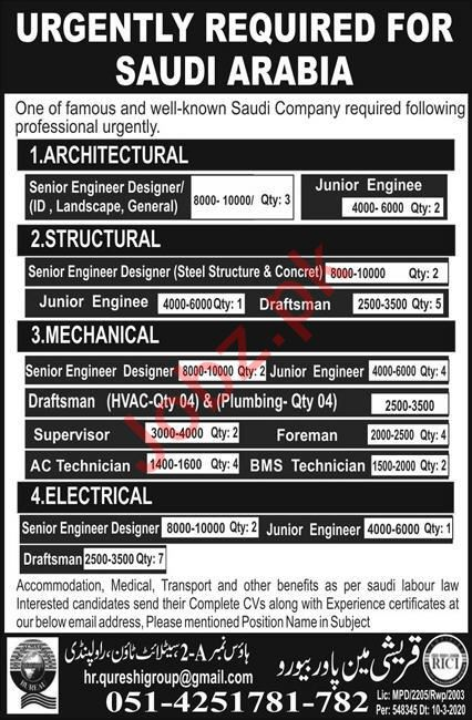 Engineer Designer & Draftsman Jobs 2020 in Saudi Arabia