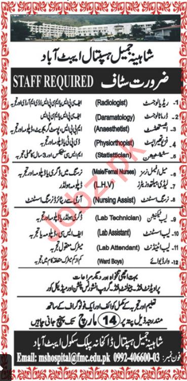 Shahina Jamil Hospital Jobs 2020 in Abbottabad KPK