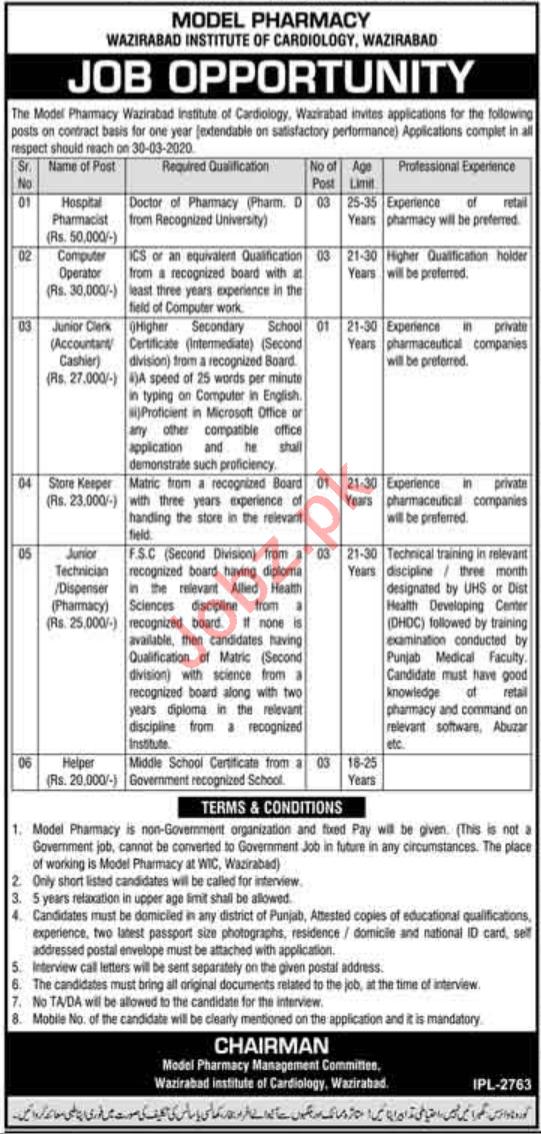 Wazirabad Institute of Cardiology WIC Jobs 2020