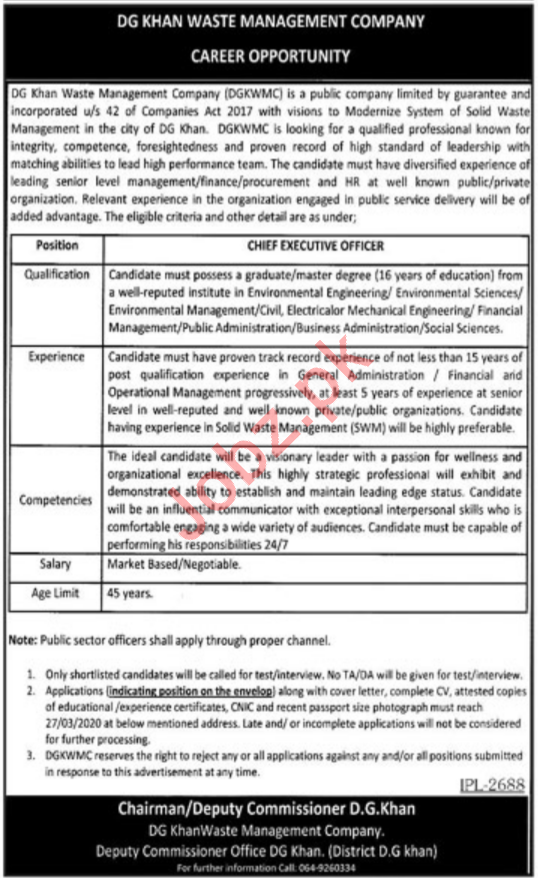DG Waste Management Company Job For Chief Executive Officer