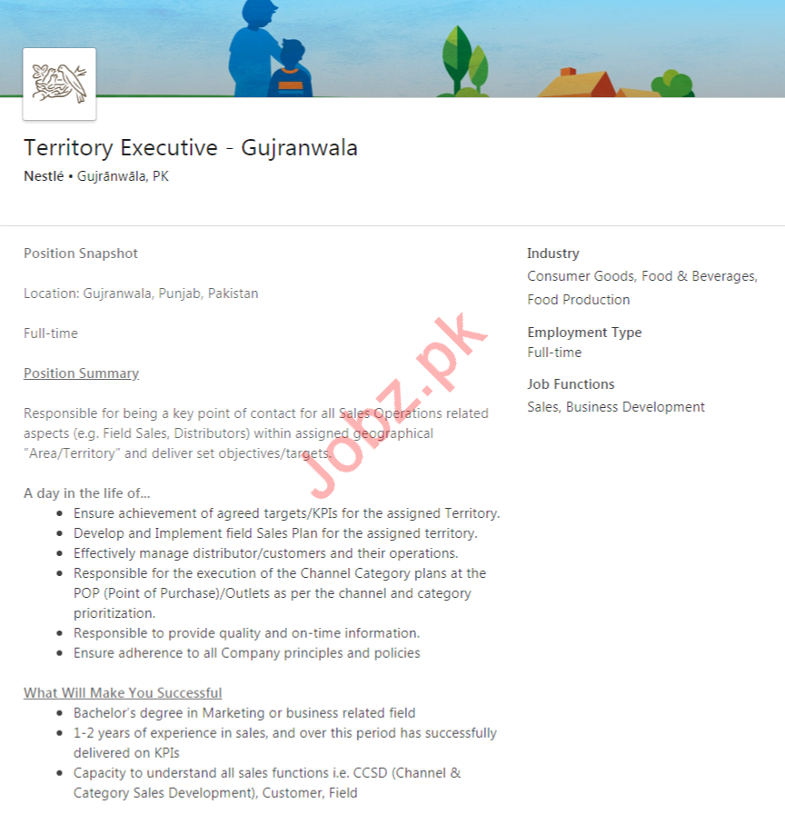 Territory Executive Job 2020 in Gujranwala