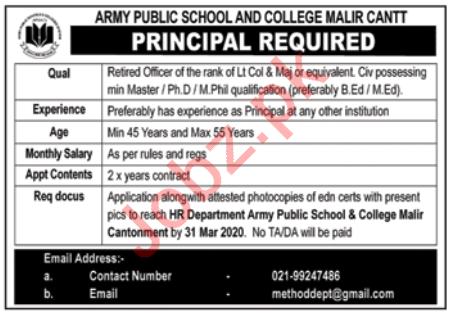 Army Public School and College Jobs 2020 in Karachi