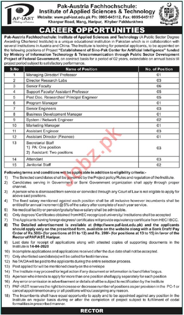 Pak Austria Fachhochschule IAST Jobs 2020 in Haripur