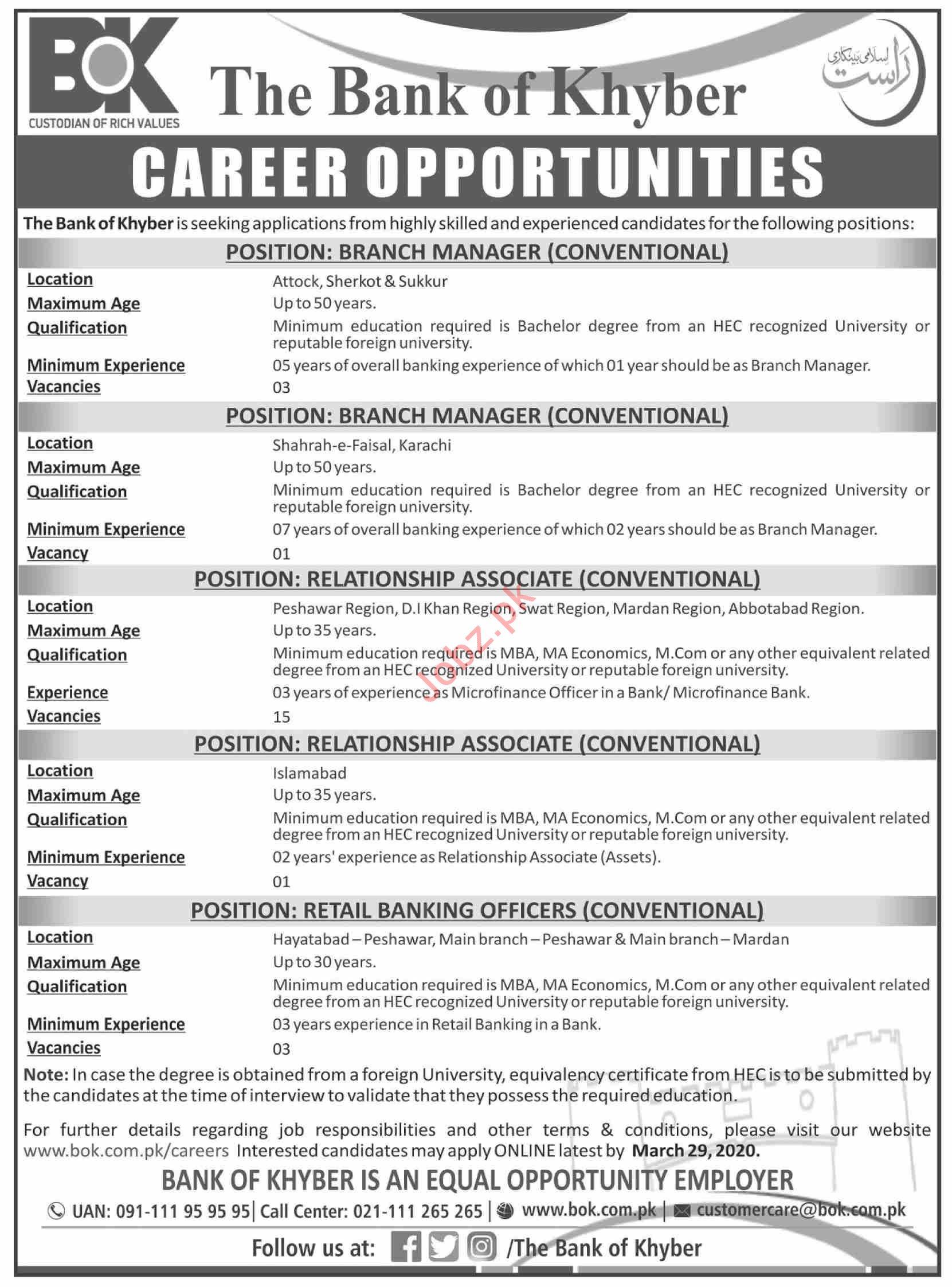 The Bank of Khyber Bok Management Jobs 2020