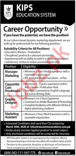 KIPS Education System Jobs 2020 in Lahore