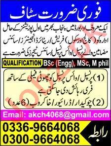 School Staff Jobs 2020 in Lahore
