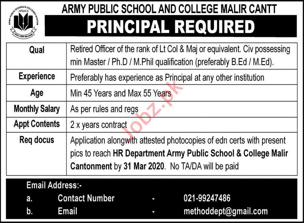 Army Public School & College Jobs 2020 in Karachi