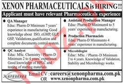 Xenon Pharmaceuticals Pvt Limited Jobs 2020 For Lahore