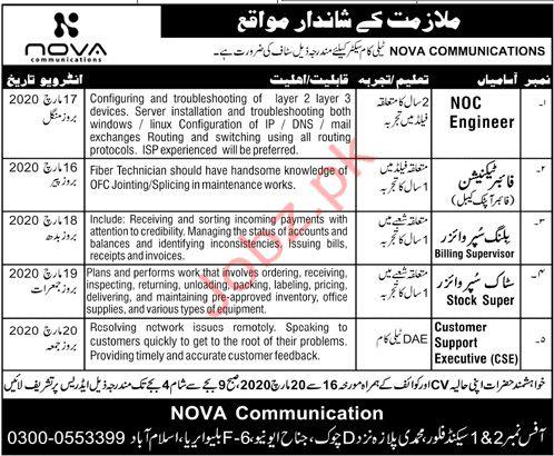 NOVA Communications Pvt Ltd Islamabad Jobs 2020