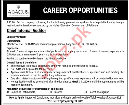 Abacus Global Chief Internal Auditor Jobs 2020