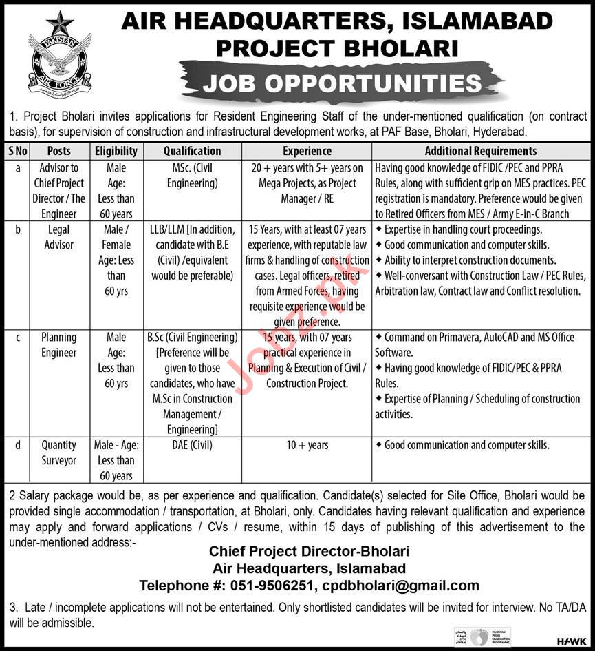 PAF Base Bholari Hyderabad Jobs 2020