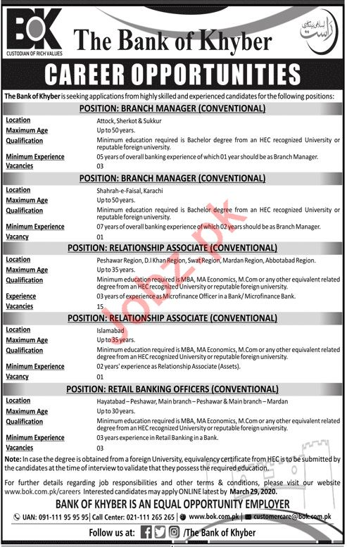 Management Jobs in The Bank of Khyber BoK