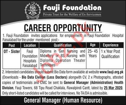 Fauji Foundation Hospital Jobs 2020 in Faisalabad