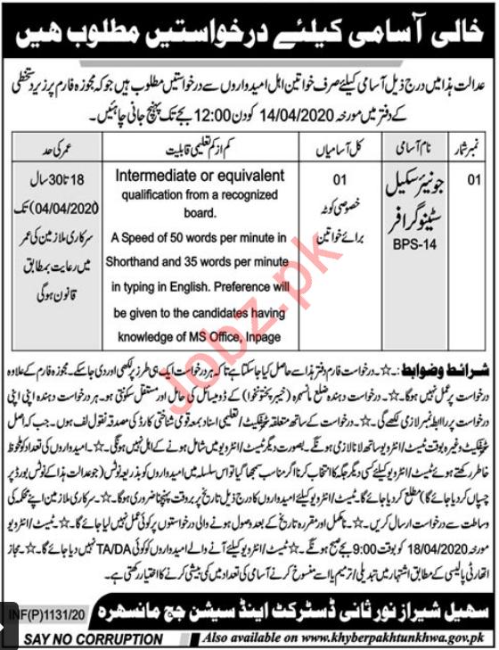District & Session Court Jobs 2020 in Manshera KPK