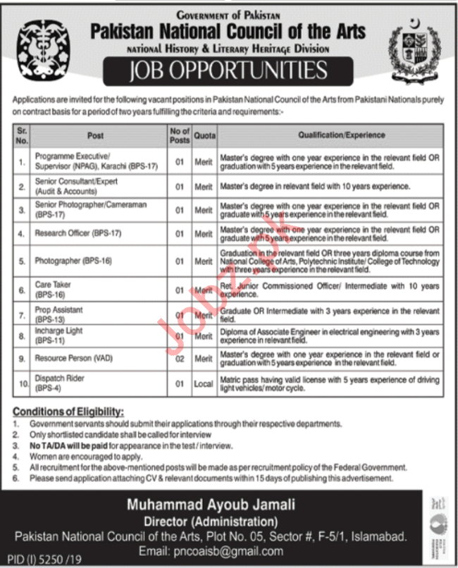 Pakistan National Council of Arts PNCA Islamabad Jobs 2020