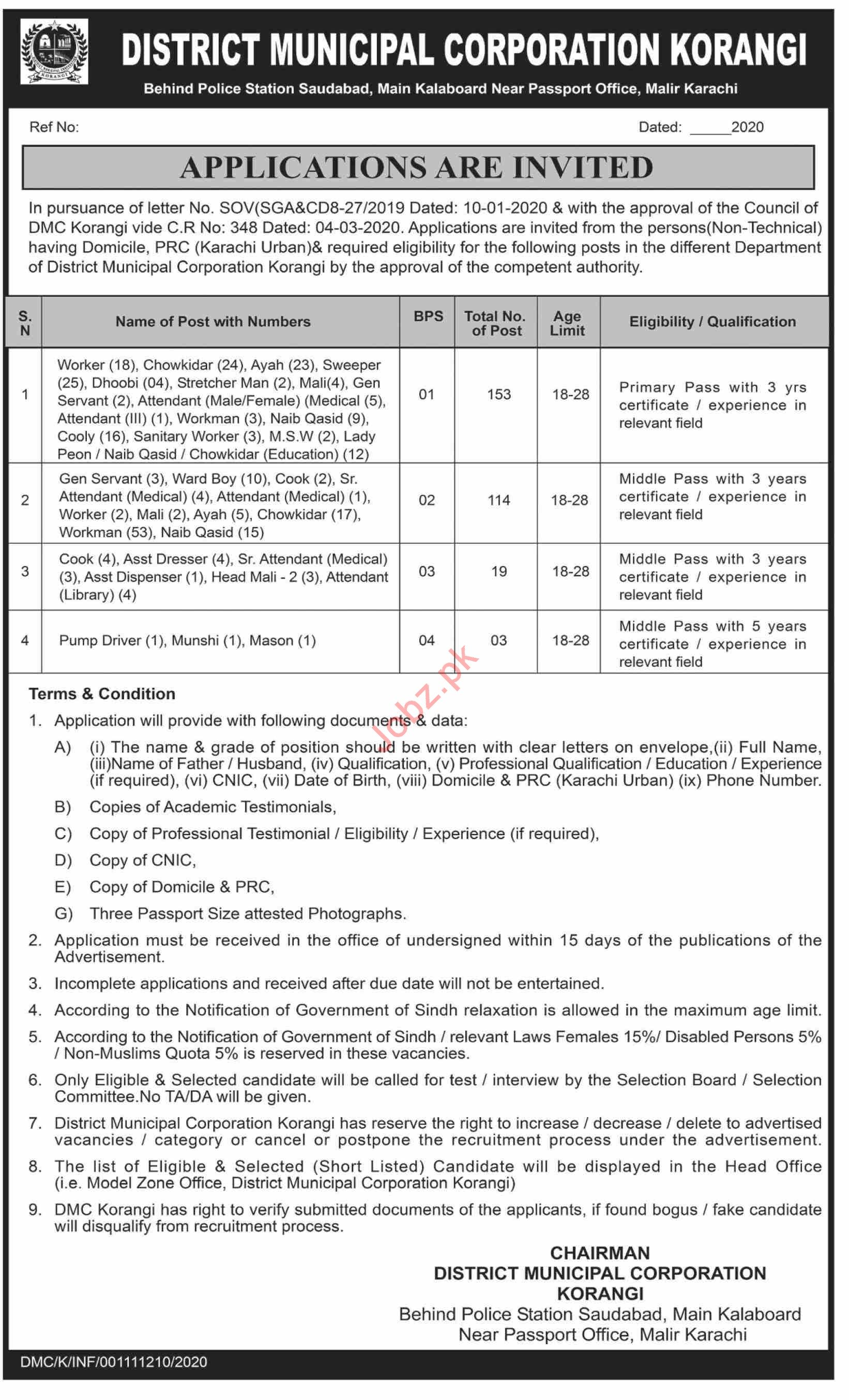 District Municipal Corporation DMC Korangi Karachi Jobs 2020