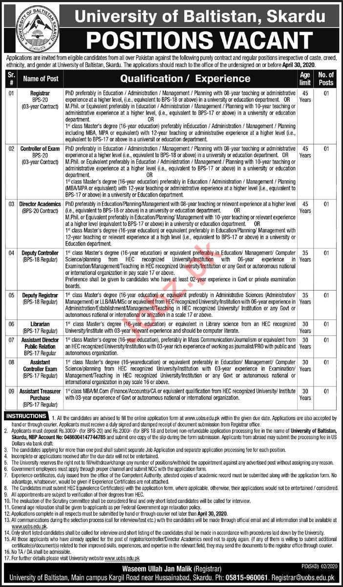 University of Baltistan Skardu Management Jobs 2020
