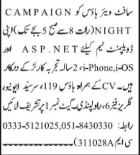 Software House Jobs 2020 in Islamabad